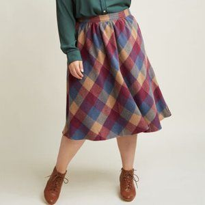 Modcloth Sunday Sojourn Wool Blend Plaid Skirt 1X